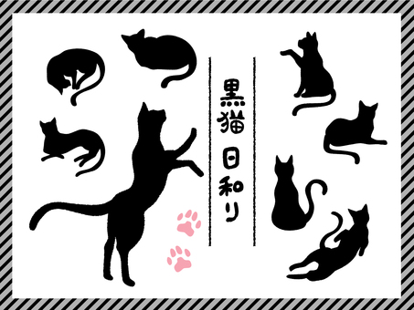 Black cat pose illustration set
