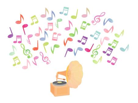 蓄音機と音符2