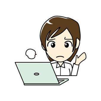 ブログ向け-パソコンと女性 お手上げ状態