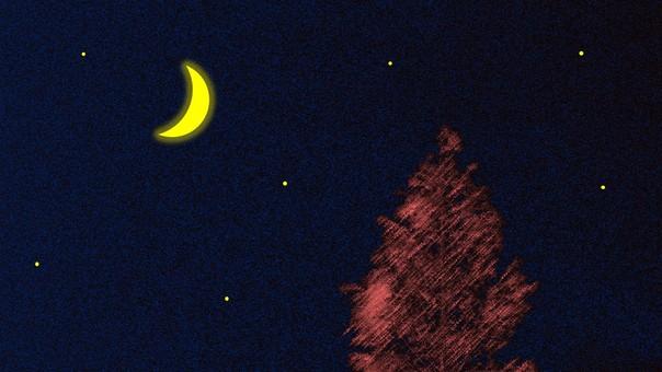 Crescent night sky