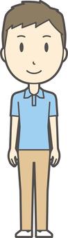 Blue polo shirt male -271 - whole body