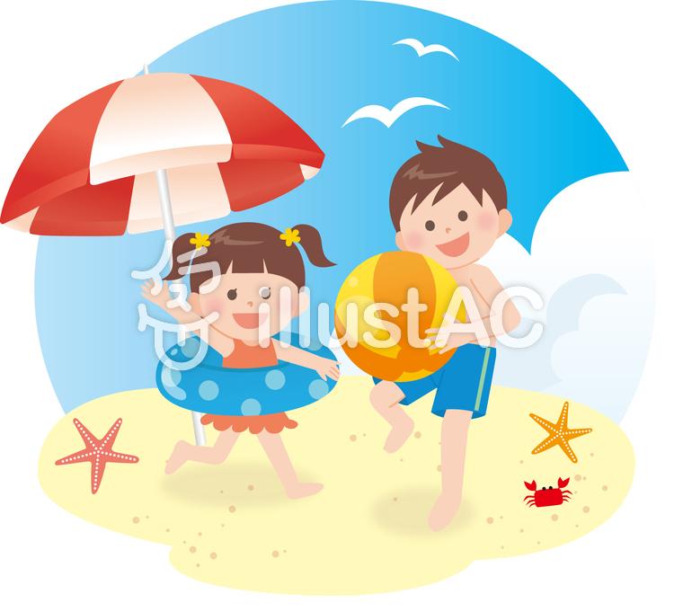 子供 海水浴のイラスト