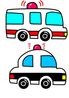 Ambulance and police car