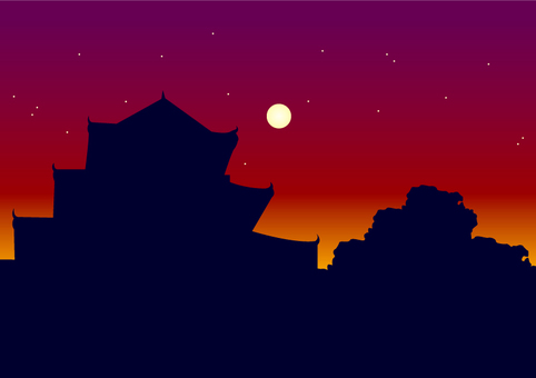 Background [Castle and moon]