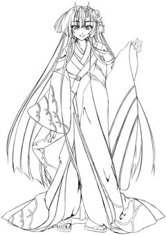 Maki Kashima, Large Furisode (Line Drawing)