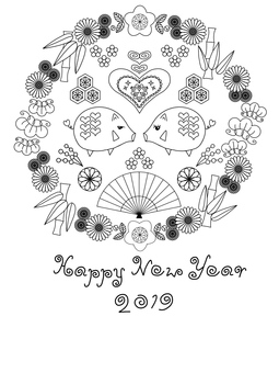 Cute New Year's cards monochrome version