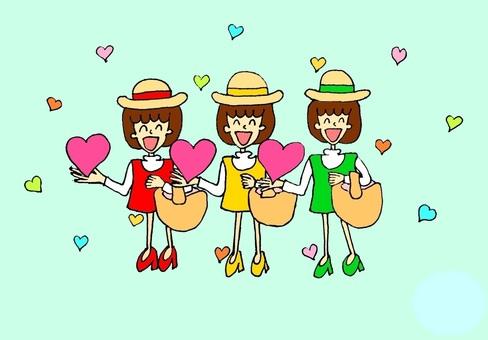 三個女兒攜帶幸福(淺藍色)