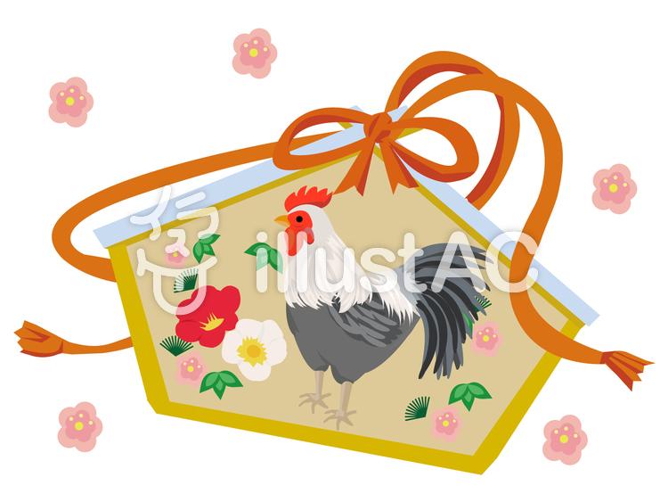 酉年の絵馬と梅のイラスト
