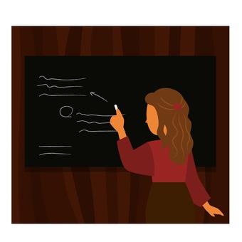 黒板に書く女性