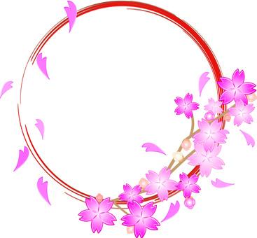 Cherry tree decoration round frame 01