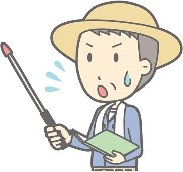 Middle-aged farmer man - Instruction rod 4 Left oblique - Bust