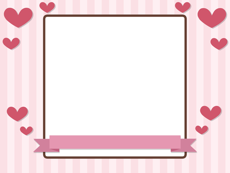 Heart and ribbon frame Red