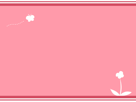 【Postcard / Pink】 Butterfly and flowers