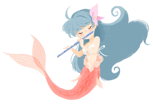 The mermaid who plays the flute