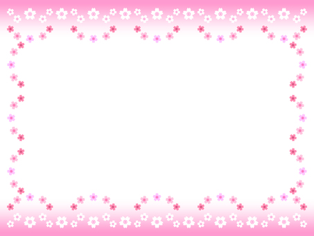 Cherry blossom frame (white background)