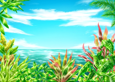 Tropical plants and the sea