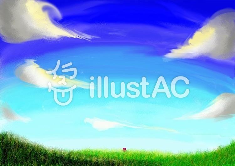 青空と草原とぷちゴンのイラスト