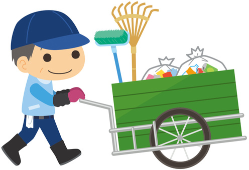 Uncle pushing a wheelbarrow for garbage cleaning