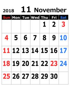 2018 calendar in November