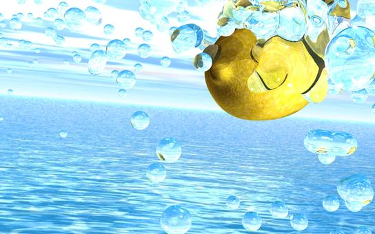 Water splashed into lemon 1
