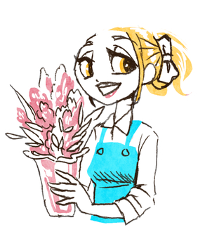 Smiling young woman holding a vase (color)