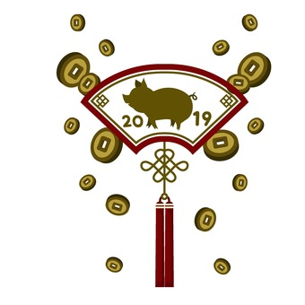 Gold and pig decoration