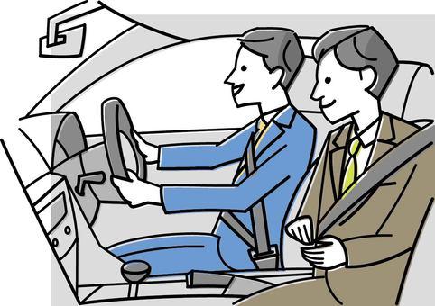 동료와 영업 차량에 오르는 남자