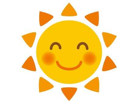 Illustration of a smiling sun 1 (orange)
