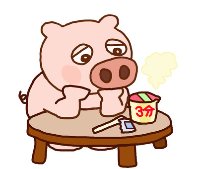 Pig waiting for cup noodles to be made