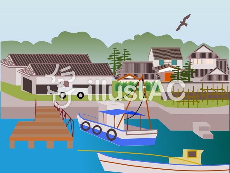 漁村のイラスト