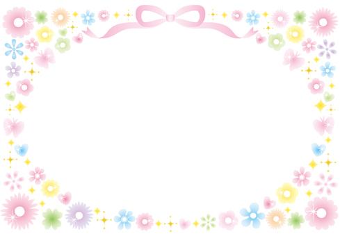 Glittering flower frame (pastel)