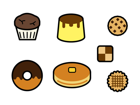 Handmade sweets icon set