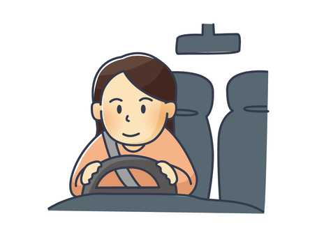 Illustration of a woman driving