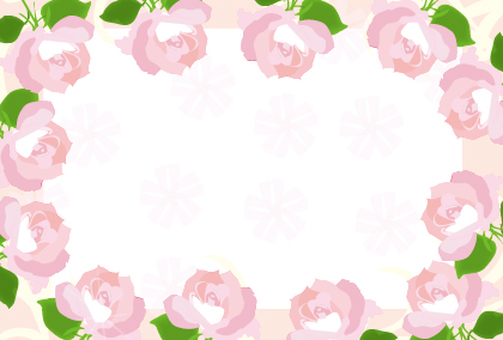 Pink rose flower frame