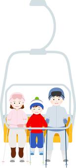 Families riding a ski lift