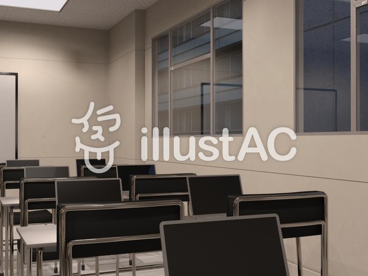 ビル内ITビジネススクールの風景のイラスト