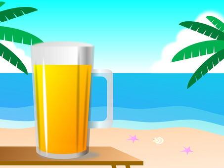 해변에서 맥주