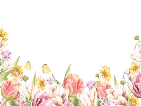 Flower frame 263 - Warm color flower frame - Border frame