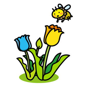 튤립과 꿀벌의 그림