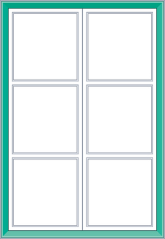 Western style crate window frame green