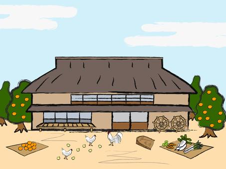 Japanese style farmhouse scenery