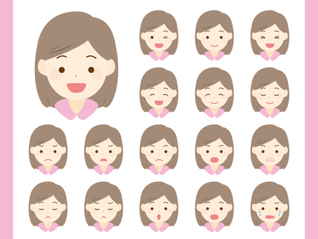 Adult female facial expression set. 01