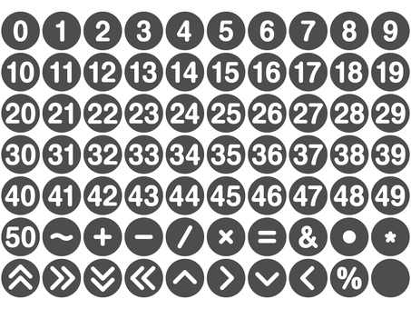 Number and symbol set Round (gray)