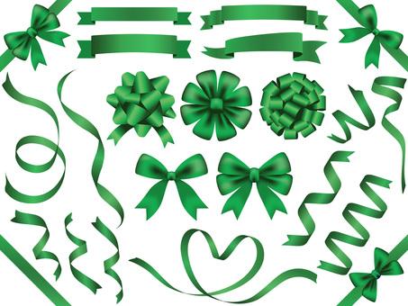 Ribbon material set 4 green