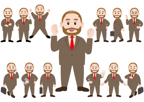 Businessman illustration set