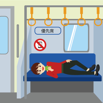 A man lying on the seat in the train