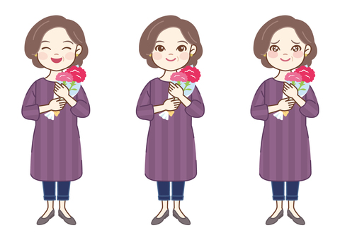 Mother holding a flower