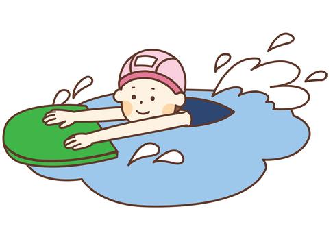 School Swimsuit Girl Swims Using Beat Board