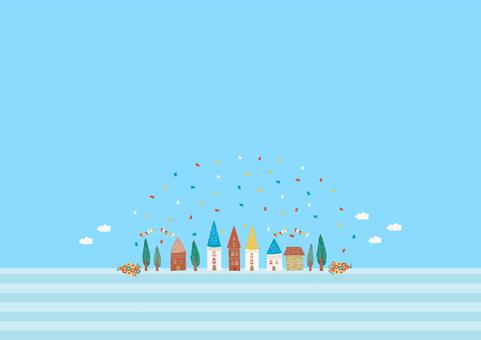 푸른 하늘과 도시
