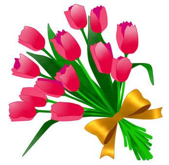 郁金香花束粉红色1